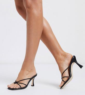 Co Wren Wide Fit strappy mid heel sandals in black
