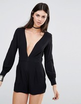 Motel Millicent Romper With Plunge Neck