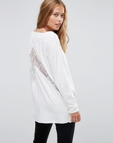 Asos Top with Lace Panels and Long Sleeve in Oversized Fit