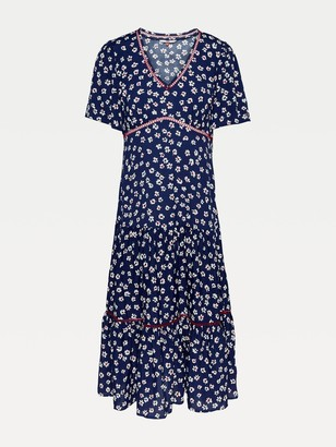 Tommy Jeans Printed Lace Trim Dress - Floral Print