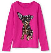 Lands' End Girls Roll-Neck Embellished Graphic Knit Tee-Floral Sequins