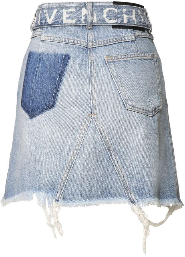 Givenchy High Waist Logo Cotton Denim Mini Skirt
