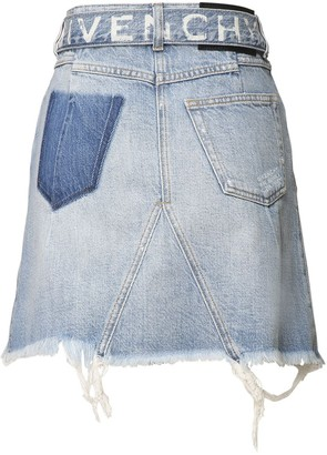 Givenchy High Waist Logo Cotton Denim Mini Skirt