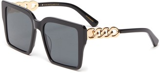 For Art's Sake Chain Detail Acetate Square Frame Sunglasses