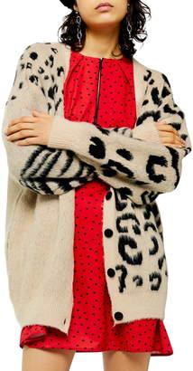 Topshop Mixed Animal Cardigan