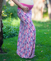 Pink & Cream Damask Under-Belly Maternity Maxi Skirt
