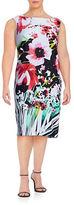 Gabby Skye Plus Printed Scuba Sheath Dress
