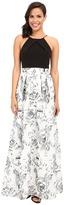 Aidan Mattox Long Halter Neck Column with Lace Ball Gown Skirt