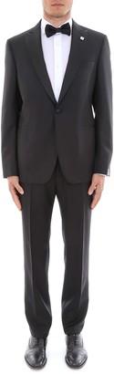 Lardini Floral Brooch Two-Piece Tuxedo Suit