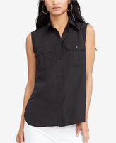 Lauren Ralph Lauren Sleeveless Crepe Shirt