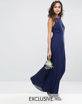 TFNC WEDDING High Neck Pleated Maxi Dress