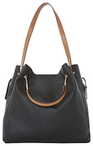 Dune Daura Metal Handle Slouch Shoulder Bag, Black