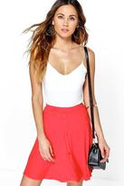 Boohoo Adriana Button Front Jersey Skater Skirt