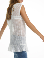 White + Warren Cotton Ruffle Hem Mesh Tunic