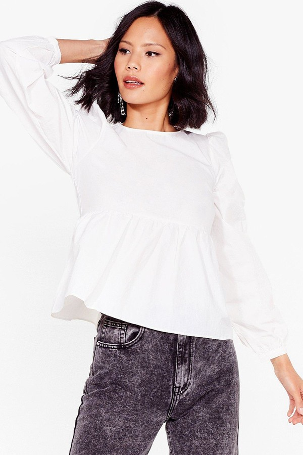 Nasty Gal Womens Smock It Off Relaxed Crew Neck Top - Tan - 10
