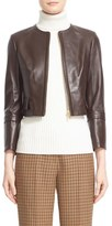 Michael Kors Collarless Crop Lambskin Leather Jacket