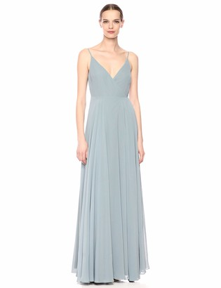 Jenny Yoo Women's James V Neck Spaghetti Strap Wrap Long Chiffon Gown