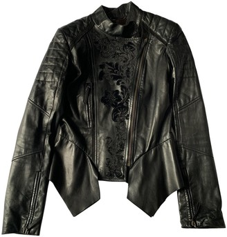 Roberto Cavalli Black Leather Leather Jacket for Women
