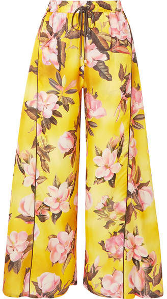 F.R.S For Restless Sleepers Apate Floral-print Satin-twill Wide-leg Pants - Yellow