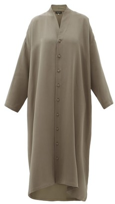eskandar Shawl-collar Silk-crepe Shirtdress - Womens - Mid Grey