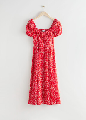And other stories Flowy Puff Sleeve Midi Dress