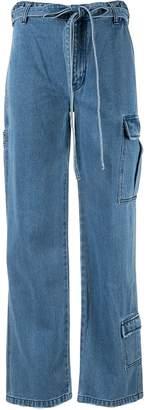 Pony Stone straight-leg tie waist jeans