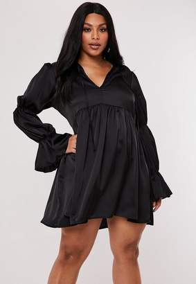 Missguided Plus Size Black Satin Tiered Sleeve Smock Dress