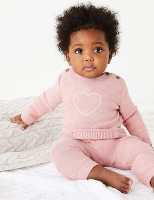 Marks and Spencer Cotton Embroidered Heart Top & Bottom Outfit