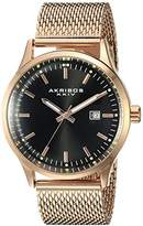 Akribos XXIV Men's AK901RGB Round Black Radiant Sunburst Dial Three Hand Quartz Movement Rose Gold Tone Bracelet Watch