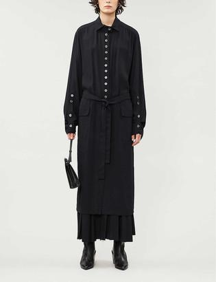 Ann Demeulemeester Button-embellished twill maxi dress