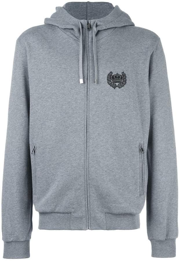 Dolce & Gabbana embroidered crown zip hoodie