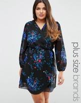 AX Paris Plus Wrap Dress In Floral Print
