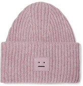 Acne Studios Pansy Appliquéd Ribbed Wool-blend Beanie - Pink