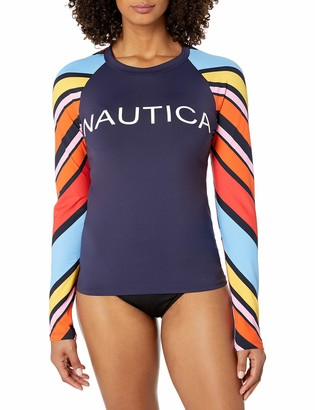 Nautica Women's Raglan Rashguard-Stretch Long Sleeve Swim Top