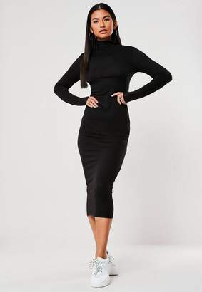 Missguided Black Basic Jersey Turtle Neck Midi Dress