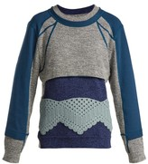 Craig Green Crochet Panelled Cotton Sweater - Womens - Blue Multi