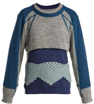 Craig Green Crochet Panelled Cotton Sweater - Womens - Blue Multi