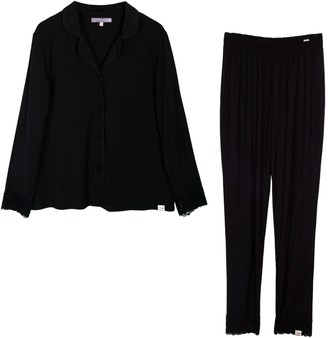 Pretty You London Lace Modal Pyjama Set In Black