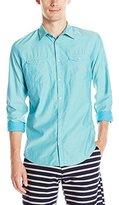 Calvin Klein Jeans Men's Chambray Twill Aviator Long Sleeve Button Down Shirt