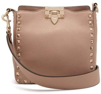 Valentino Rockstud Grained Leather Cross Body Bag - Womens - Nude