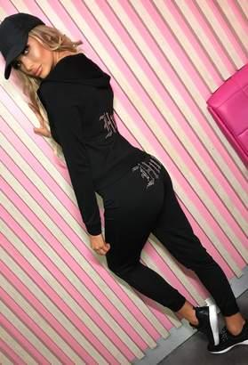 Pink Boutique Hey Hun Black Hooded Lounge Set