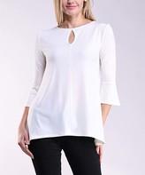 Lbisse Women's Blouses Solid - Ivory Keyhole Three-Quarter Sleeve Tunic - Women