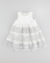 Little Marc Jacobs Embroidered Tulle Dress, Off White