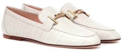 Tod's Double T embossed leather loafers