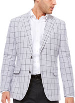 STAFFORD Stafford Linen Cotton Quiet Charcoal Windowpane Sport Coat-Slim