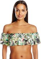 Lucky Brand Women's Coastal Palms Off the Shoulder Halter Bandeau Bikini Top