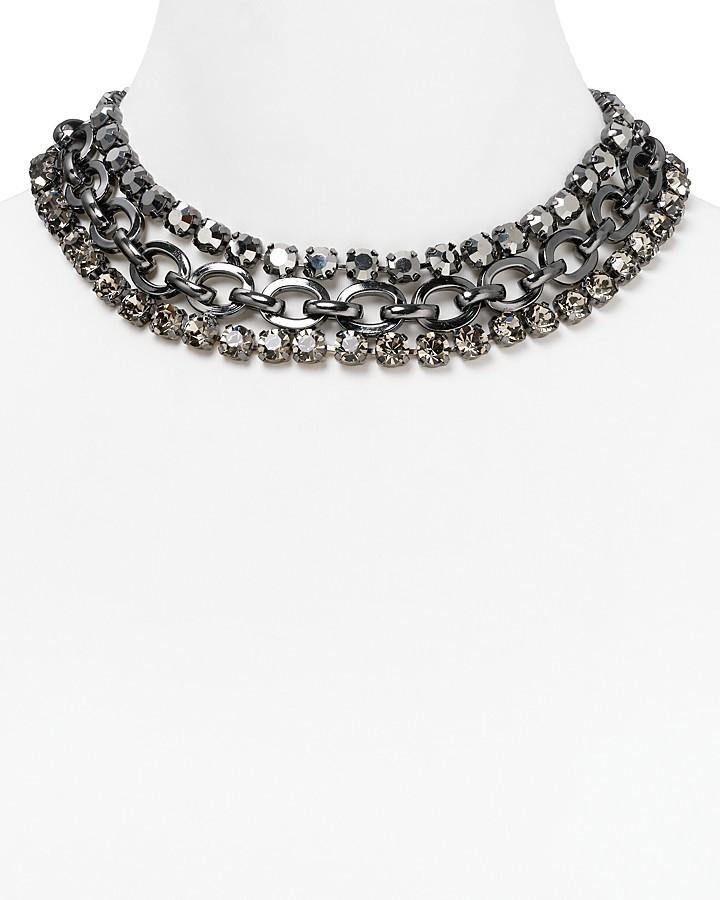 "Cara Accessories Gray Stone Triple Strand Necklace, 14"""