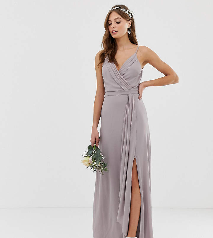 TFNC bridesmaid exclusive cami wrap maxi dress with fishtail in grey