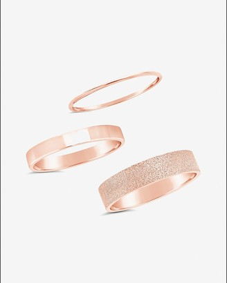 Express Sterling Forever Set Of 3 Textured Stack Rings