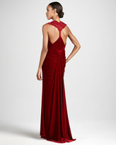 Tadashi Shoji Sleeveless Ruched Gown with Back Detail